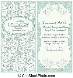 bleu, invitation, baroque, beige, mariage