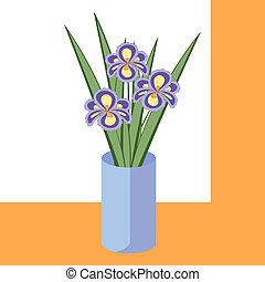 bleu, iris, pourpre, résumé, illustration, bouquet, flowers., vecteur, feuilles, fleurs, vase., carte