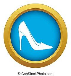bleu, isolé, élevé, chaussure, talon, icône