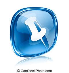 bleu, isolé, arrière-plan., verre, blanc, punaise, icône