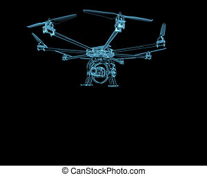 bleu, isolé, bourdon, avion, noir, uav, transparent, rayon x