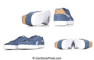 bleu, isolé, espadrilles, fond, jean, paire, blanc