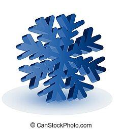 bleu, isolé, flocon de neige