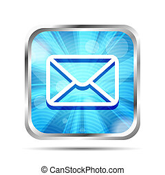 bleu, isolé, fond, courrier, blanc, icône