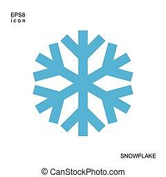 bleu, isolé, fond, snowflake blanc, icône