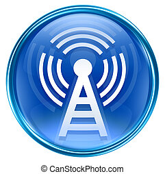 bleu, isolé, fond, tour, wi-fi, blanc, icône