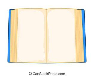 bleu, isolé, livre, fond, blanc, ouvert, dessin animé