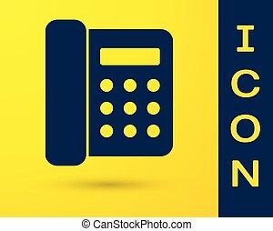 bleu, isolé, téléphone jaune, arrière-plan., vecteur, téléphone., illustration, icône, landline