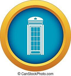 bleu, isolé, téléphone, vecteur, cabine, icône
