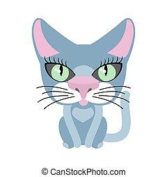 bleu, isolated., chat, chouchou, fond, blanc
