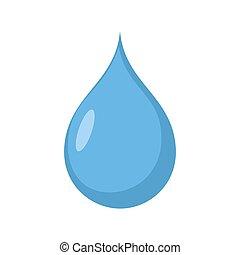 bleu, isolated., goutte, eau, eau, fond, blanc, drib