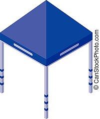 bleu, isométrique, icône, gazebo, style