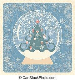 bleu, ivoire, grunge, card., cristal, sourd, vendange, cadre, noël, arrière-plan., arbre., snowball., éléments, décoré, texture., fond, flocons neige