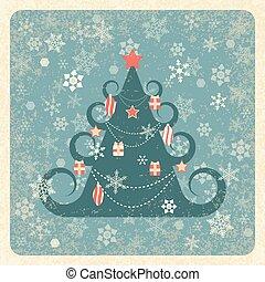 bleu, ivoire, grunge, flocons neige, sourd, vendange, cadre, noël, arrière-plan., arbre., éléments, décoré, texture., fond, card.