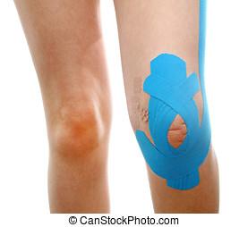 bleu, jambe, physio, bande, traitement, thérapeutique