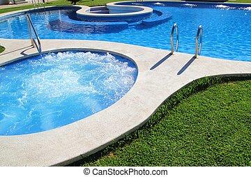 bleu, jardin, jet, vert, spa, herbe, piscine