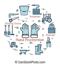 bleu, jardinage, protection, -, main