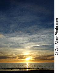 bleu, jaune, coucher soleil