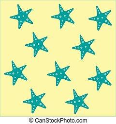 bleu, jaune, couleur étoile mer, modèle, sur, illustration, fond, vecteur, texture, ou, régulier