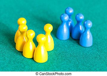 bleu, jaune, gages, peu, devant, plusieurs