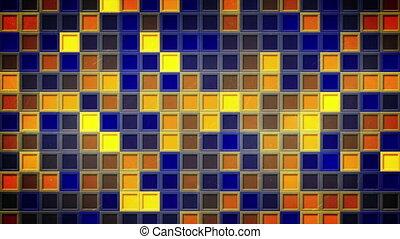bleu, jaune, loopable, fond, clignotant, carrés