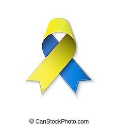 bleu, jaune, poly, ribbon., bas
