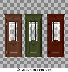 bleu, jaune rouge, portes