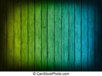 bleu, jaune, texture bois, fond, panneaux