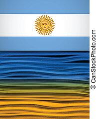 bleu, jaune, vague, drapeau, fond, argentine, blanc