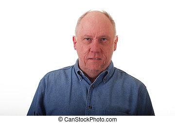bleu, jean, homme, chemise, plus vieux