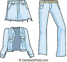 bleu, jean, mode, blanchi