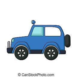 bleu, jeep, icône, style, dessin animé