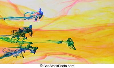 bleu, jet, coloré, peinture, dynamique, jaune, arrière-plan...