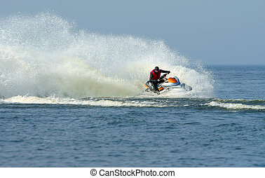 bleu, jet, jet eau, mer, action, ski