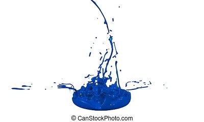 bleu, jeu, arrière-plan., liquid., 3d, rebond, peinture, animation, orateur, eclabousse, blanc, music., musical, 4k