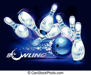 bleu, jeu, sur, bowling