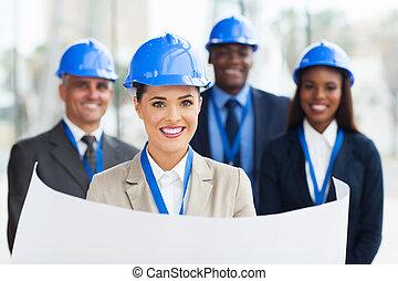 bleu, jeune, directeur, construction, tenue, impression