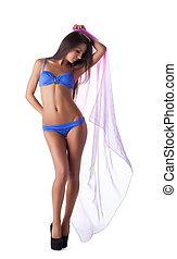 bleu, jeune, maillot de bain, bikini, sexy, cap, girl