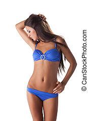 bleu, jeune, maillot de bain, bikini, sexy, girl