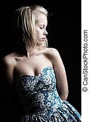 bleu, joli, floral, blond, robe, girl