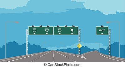 bleu, jonction, ciel, isolé, journée, autoroute, vert, illustration, fond, signage, y, ou, autoroute