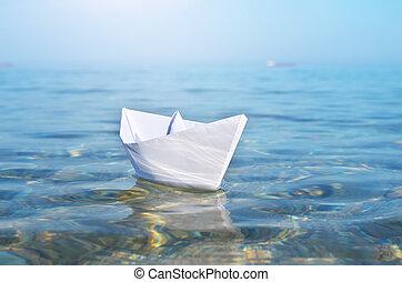 bleu, jouet, profond, papier, sea., bateau