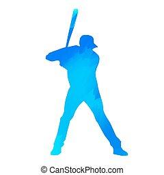bleu, joueur, base-ball