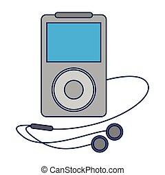 bleu, joueur, lignes, écouteurs, musique