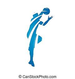 bleu, joueur, résumé, basket-ball, vecteur