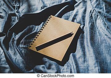 bleu, journaling, literie, cahier, agenda