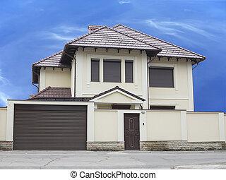 bleu, juste, maison, sur, ciel, luxe, fond, builded
