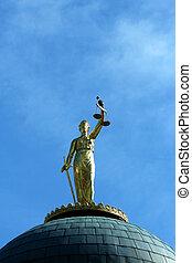 bleu, justice, ciel, contre, statue, dame