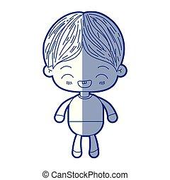 bleu, kawaii, peu, silhouette, garçon, rire, facial, ombrager, expression