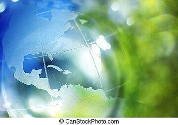 bleu, la terre, arrière-plan vert